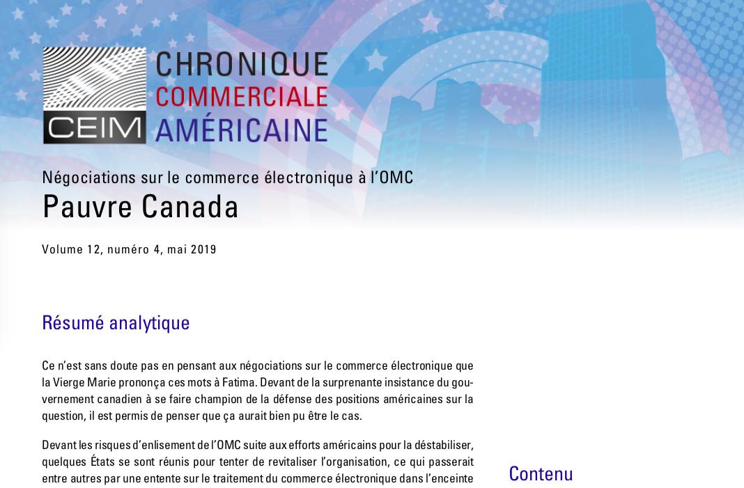Négociations sur le commerce électronique à l'OMC : Pauvre Canada